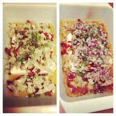 Baked feta dip with sun dried tomatoes, artichoke hearts, capers and a red onion/herb salad #appetizer #dip #vegetarian
