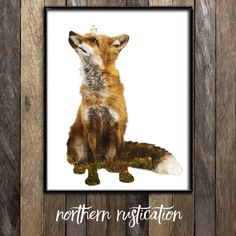 Fox Wall Art Print, Woodland Nursery Decor, Forest Animals, Double Exposure Nature Photography, Red Fox Kids Room Decor, Boho Fox Print