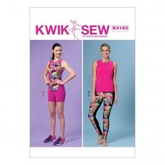 Kwik Sew Ladies Easy Sewing Pattern 4163 Sportswear Racerback Tops, Shorts & Leggings | Sewing | Patterns | Minerva Crafts