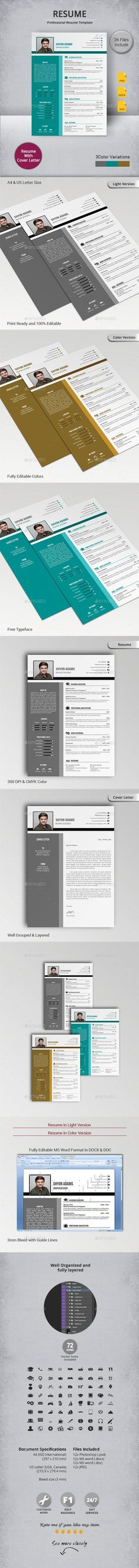 Buy Resume by artisanHR on GraphicRiver. Resume The Resume is designed as simple impact and clean format for complete professional work. The template combine. Best Resume Template, Cv Template, Website Template, Resume Cv, Resume Design, How To Make Cv, Page Design, Web Design, Professional Resume