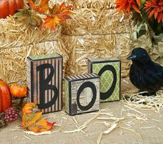 BOO Blocks Halloween blocks blocks Holiday by SignsStuffnThings