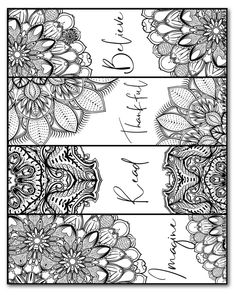 Free Printable Bookmarks, Bookmarks Kids, Free Printables, Mandala Coloring Pages, Free Coloring Pages, Coloring Books, Doodle Art, Watercolor Bookmarks, Printable Adult Coloring Pages