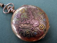 Antique Victorian Stag Pocket Watch - Unbelievable Details and Colors - Gold Filled – Full Hunter Case - (Front) - 01 by Two Altered Visions, via Flickr