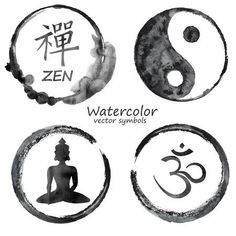 Illustration of Vector watercolor set of yoga and buddhism label icons. Om, Zen, Buddha and Yin Yang signs design concept vector art, clipart and stock vectors. Buddha Wall Art, Buddha Zen, Buddha Painting, Yin Yang Tattoos, Yoga Tattoos, Body Art Tattoos, Lotusblume Tattoo, Shiva Tattoo, Om Symbol Tattoo