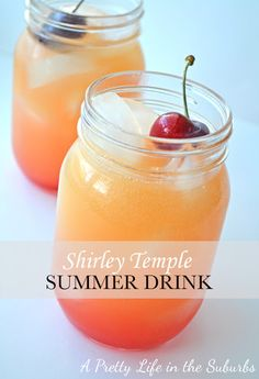 A different take on a Shirley Temple -- with a lttle OJ added.  I'm thinking a little vodka in there too and these are a great summer cocktail Shirley Temple Popsicles - A Pretty Life In The Suburbs