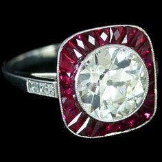 Art Deco Platinum, Ruby, and Diamond Ring.  Custom Make vintage jewelry on Morpheus! www.morphe.us.com