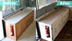 As a reminder: always have a fire extinguisher in your camper/rv. Pop Up Camper Remodel: Beautiful and easy countertop redo for the pop up trailer. Popup Camper, Diy Camper, Rv Campers, Truck Camper, Camper Trailers, Camper Ideas, Small Campers, Truck Bed, Happy Campers