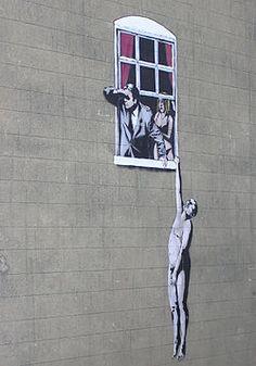 Hombre desnudo, imagen obra de Banksy, en Park Street, Bristol, Inglaterra, en la pared de un centro de planificación familiar. Según consulta popular efectuada, el ayuntamiento ha decidido que esta imagen no será borrada en Park Street, Bristol, Inglaterra