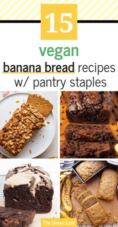 These easy Vegan Banana Bread Recipes are made with simple and cheap pantry staples (oat flour, apple sauce,etc.), so they are perfect for when you can't go to the store. Vegan Dessert Recipes, Vegan Breakfast Recipes, Sweets Recipes, Yummy Recipes, Vegan Banana Bread, Banana Bread Recipes, Cheap Vegan Meals, Vegan Teas, Vegan Recipes Beginner