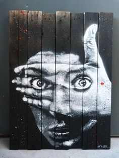 "^by Jef Aerosol - New piece on wood - For solo show ""Anony(fa)mous"" in Rome, Italy - 01.06.2014"