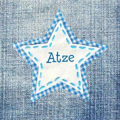 Jeans geboortekaartje met ster. Stoer kaartje met ster applicatie op spijkerstof bij JilleJille.nl  | Birth announcement card with jeans and stars
