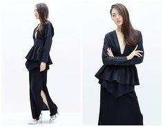 black blouselong sleeve shirtfashion topdeep V by HerselfStudios