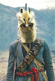 Afghan hunter wearing fox skin mask - 1970's.