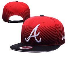 Men s Atlanta Braves New Era Red Navy MLB Line Fade Snapback Hat cc575dfac27