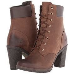 """Timberland Earthkeepers® Glancy 6"""" Boot ($130) ❤ liked on Polyvore featuring shoes, boots, ankle booties, heels, booties, ankle boots, dark brown, lace up boots, high heel booties and short boots"""