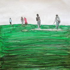 watercolor & pen Pen And Watercolor, Fields, My Arts, Painting, Painting Art, Paintings, Painted Canvas, Drawings