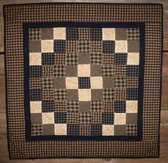 Quilted Wall Hanging Quilt Homespun Black Trip Around the World 39 inch - More Variety of Wall Quilts Available at Stoney Ridge Creations