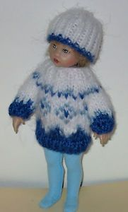 "for 8"" Kish Riley Doll: Hand Knit Sweater & Hat + Tights #2"
