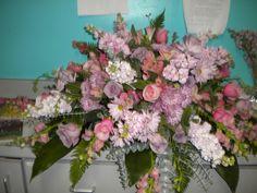 Beautiful Casket Sprays | Love this lavender and pink casket spray. | Funeral Work