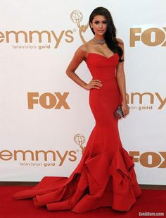 Nina Dobrev Strapless Red Gown at 2011 Emmy Awards