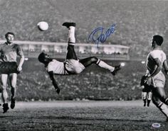 Pele Autographed Photo - 16x20 Bicycle Kick - ITP - PSA/DNA Certified - Autographed Soccer Photos by Sports Memorabilia. $449.99. Pele Signed Photo - 16x20 Bicycle Kick - PSA ITP. Every item offered by Sportsmemorabilia is guaranteed 100% authentic. Items like this gain value over time, making it a good buy at a good price. A+ quality signature. We love pieces like this since Pele's killer stats speak for themselves. This certified piece comes from a rare official signing sessio...