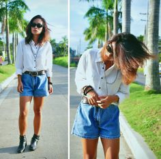 Ray Ban Vintage Sunnies, Thrift White Polo, Thrift Leather Belt, Gap Vintage Shorts, Thrift Leather Boots