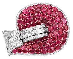 Jarretière bracelet of diamonds, rubies and platinum by Van Cleef & Arpels, Paris, c. 1937, owned by Marlene Dietrich (photo Patrick Gries/VC