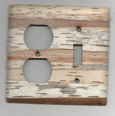 birch bark covered light switch plate Outlet plug by Barkybark