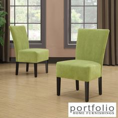 @Overstock.com - Portfolio Duet Emma Spring Green Velvet Upholstered Armless Chair (Set of 2) - The Portfolio Home Furnishings Duet Emma armless accent chair features upholstery in a beautiful spring green velvet fabric. Sold as a set of 2, these chairs are designed with a slightly contoured back and spacious seat.  http://www.overstock.com/Home-Garden/Portfolio-Duet-Emma-Spring-Green-Velvet-Upholstered-Armless-Chair-Set-of-2/8306417/product.html?CID=214117 $269.99