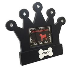 Black Crown Dog Woof Picture Frame 4 x 3