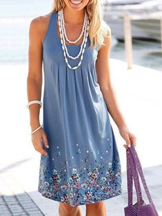 Casual Sleeveless Mini Printed Dresses
