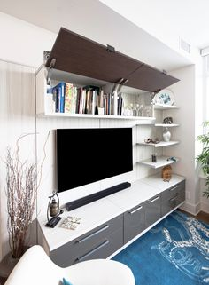 Media Centre Storage Hide away all of the loose items behind doors in order to create a streamlined appearance. Media Room Design, Wall Design, California Closets, Media Wall, Custom Cabinetry, Media Center, Tv Unit, Room Organization, Entertainment Center