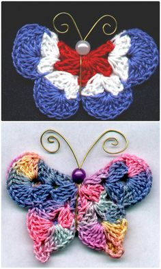25 Crochet Butterfly Free Patterns [Picture Instructions] Mary G Kostenlos Crochet Butterfly Model Crochet Butterfly Free Pattern, Crochet Flower Patterns, Crochet Designs, Crochet Flowers, Knitting Patterns, Potholder Patterns, Crochet Diy, Crochet Motifs, Crochet Squares