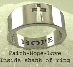 Faith Hope Love Cutout Cross Stainless Steel Band Ring SZ 5-10 Silver Christian #Band