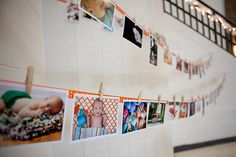 cute display of pics at first birthday party!