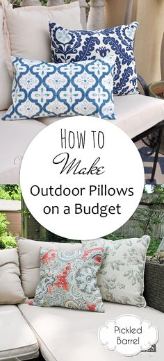 Sew Pillow Learn how to make your own outdoor pillows (on a budget) with these easy tips and tutorials! - Learn how to make your own outdoor pillows (on a budget) with these easy tips and tutorials! Diy Outdoor Cushions, Diy Room Decor, Diy Living Room Decor, Pillows, Outdoor Pillows Diy, Diy Pillows, Patio Pillows, Outdoor Pillows, Diy On A Budget