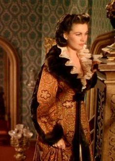 Scarlett in the Paisley Robe worn when Rhett and Bonnie return from London.