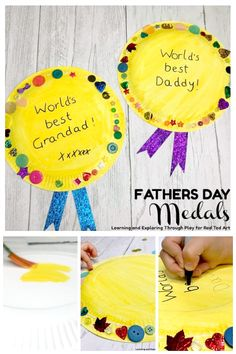 """Paper Plate Medal for Father's Day - How to make a Paper Plate Medals with preschoolers. A super sweet """"best dad"""" or """"best grandad"""" activity for toddlers and preschoolers this Father's Day! Kids Fathers Day Crafts, Fathers Day Art, Crafts For Kids, Toddler Fathers Day Gifts, Easy Mothers Day Crafts For Toddlers, Dad Crafts, Father's Day Activities, Toddler Activities, Toddler Preschool"""