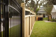 Wood privacy fences are our specialty! All of our wood fences are custom stick built (meaning no pre-built panels). Building our fences this way allow Wood Privacy Fence, Fence Stain, Dog Fence, Fence Gate, Stockade Fence, Photo Lock, Wood Fence Design, Aluminium Gates, Chain Link Fence