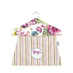 At home with Ashley Thomas Pink floral striped print peg bag   Debenhams
