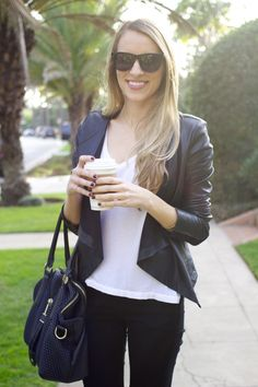 Waterfall Leather Jacket, SN version of the rocker look, curves in jacket, open neckline, nothing too loose.