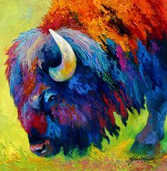 Bison Portrait II Painting by Marion Rose - Bison Portrait II Fine Art Prints and Posters for Sale