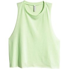 H&M Sleeveless crop top ($2.64) ❤ liked on Polyvore featuring tops, shirts, crop tops, tanks, light neon green, sleeveless shirts, neon green top, cropped shirts, shirt crop top and cotton shirts