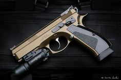 CZ 75 SP-01 SHADOW 9mm in Bronze Cerakote finish w/Surefire Tactical Laser and LED light attachment. #Beautiful!