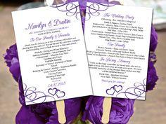 "DIY Wedding Program Fan Template - Printable Wedding Program ""Entwined Hearts"" Regency Purple Order of Ceremony Download Printable Wedding by PaintTheDayDesigns on Etsy"