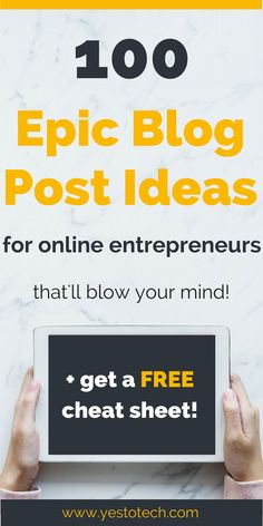 Struggling to come up with blog post ideas for your blog? Click here to download this FREE CHEAT SHEET with 100 blog post topic ideas for online entrepreneurs and never run out of blog post ideas again!