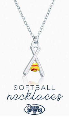 Crossed Softball Bats and Yellow Softball Necklace