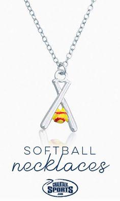 Crossed Softball Bats and Yellow Softball Necklace