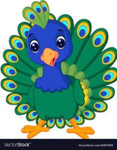 Cartoon beautiful peacock vector image on VectorStock Peacock Vector, Peacock Images, Peacock Art, Drawing For Kids, Art For Kids, Cartoon Caracters, Inkscape Tutorials, Mascot Design, Diy Canvas Art