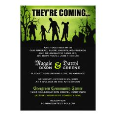 Zombie Wedding Invitations and party supplies, Walking Dead –...